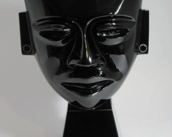 Black obsidian Teotihuacan mask with base
