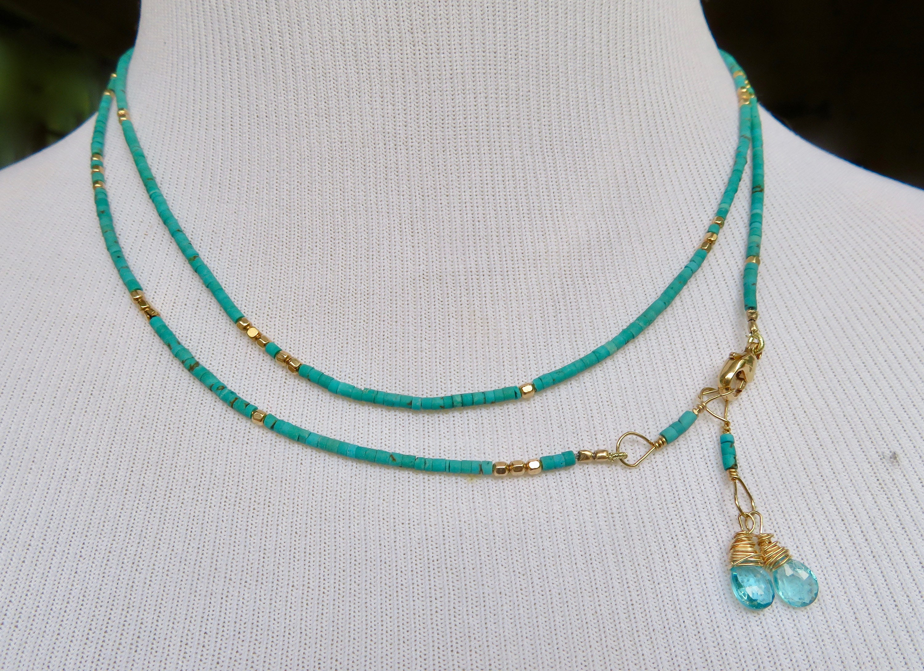 fox product necklace heishi littlefeathers three turquoise jewelry strand