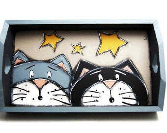 Serving tray with two cats - Tea and coffee tray with cats - Coffee serving plate