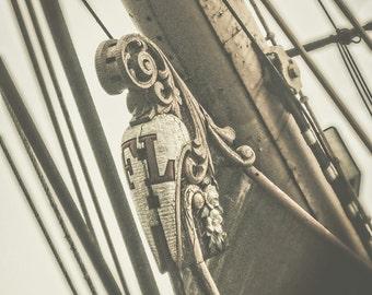 Vintage Ship Figurehead, Nautical Photography, Neutral Home Decor, Sepia Shipyard Photo, Photography Art Print, Mariner Postcard Print