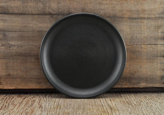 Black satine glaze stoneware plate