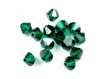 Light Emerald Satin - 4mm, 6mm - Swarovski Crystal Bicone - 5301 - 5328