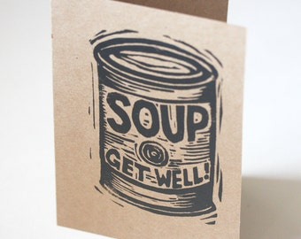 Get Well Card - Hand Printed Linocut Letterpress Greeting Card - Soup Can - Greeting Card - Letterpress Card - Paper - Cards - Hand Printed