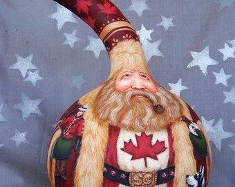Canadian Santa Claus, hand painted gourd, Santa collector gift, 11 1/2 inches tall, 7 inch diameter
