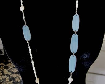 White and Blue reversible  Enamel necklace with  Fresh water pearls beads handmade,    one of kind