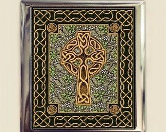 Celtic Cross Cigarette Case Business Card ID Holder Wallet Irish Ireland Religious