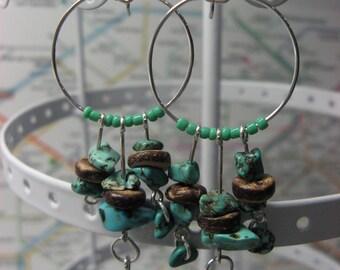 Bohemian turquoise silver plated hoop earrings