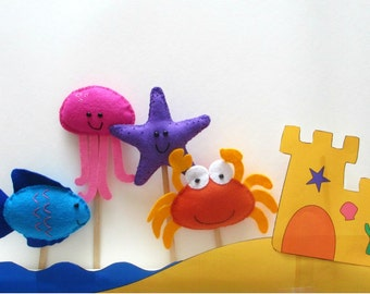 Felt Animal Puppet Pattern or Cake Toppers. Seaside Animals. Instant Sewing Pattern PDF. Includes crab, fish, starfish and jellyfish.