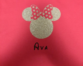 Glitter Minnie Mouse with Polka Dot Bow kids shirt