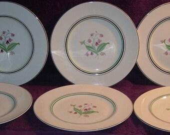 "6 Mid-Century Old Ivory Syracuse Coralbel Platinum Trim 10"" Dinner Plates Free Shipping"