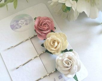 Mulberry Rose Flower Hair Grips,Bobby Pins,Rustic,Wedding Hair Clips, Bridesmaid, Flower Girl Hair Clips,White, Ivory, Dusky Rose, Uk
