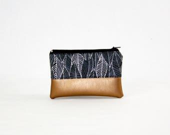 Mini bag - copper of leaves, bag, cosmetic bag, purse, make-up bag, vegan, minimalist, pouch, pencil case,.