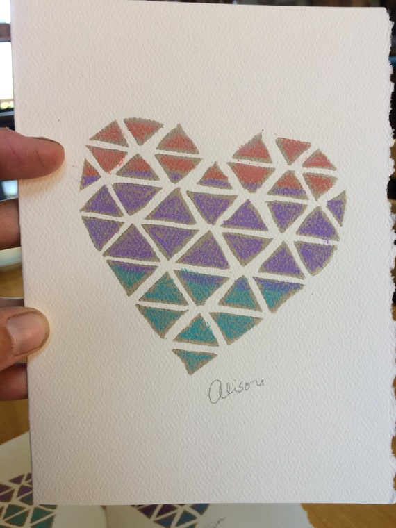 Tri Heart 5x7 block print card