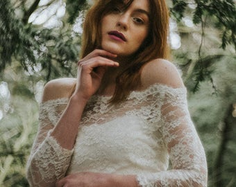 ESME TOP a beautiful off the shoulder ivory lace top/cover-up
