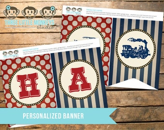 Personalized Vintage Train Banner