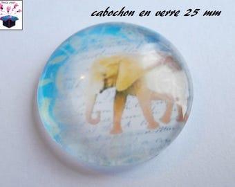 1 cabochon clear 25 mm elephant theme