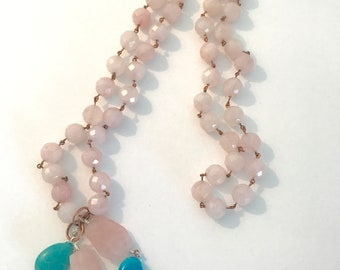 46 Inch Rose Quartz and Turquoise Necklace