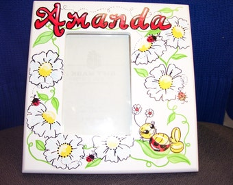 Picture Frame - Ladybugs and Flowers - Handpainted and Personalized