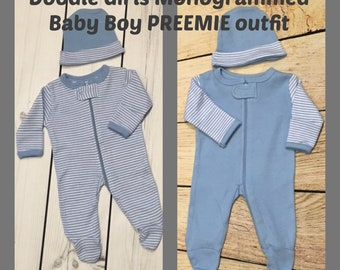Monogrammed PREEMIE Boy Outfit.  Baby Boy Preemie Set.  Preemie Sleeper and Cap.  Baby boy sleeper and cap. Striped Preemie Gift Set.