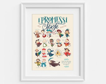 I Promessi Sposi by Alessandro Manzoni, illustrated poster with all the characters. The Betrothed