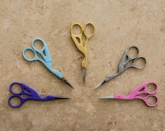 Vintage Stork Embroidery Scissors: Gold / Silver / Purple / Pink Metal Craft Scissors - 11.5cm/4.5inch