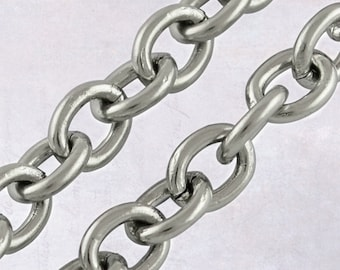 3m Stainless Steel Cable Chain - 3 Metres / 9.8 Feet, 4mm x 3mm x 0.8mm Open Links