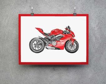Ducati V4 Superbike Motorcyclist Gift Ducati Gifts Ducati Print Gift Men Motorcycle Gift Ducati Gift Ideas Ducati Motorcyclist Ducati