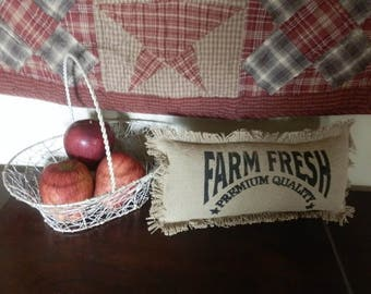 "FARM FRESH Burlap TABLETOP Pillow 7""x 14"" Farmhouse Decor"