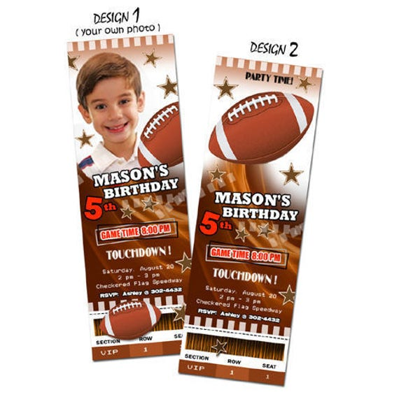 Football Ticket Birthday Invitation