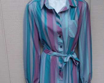 vintage 70s Blue Striped Belted SECRETARY DRESS // Ladies sz Lge