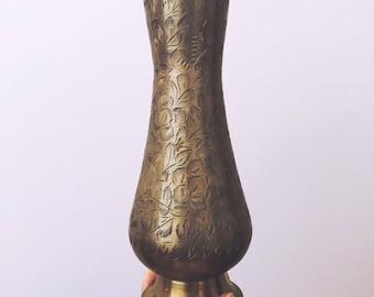 Vintage Etched Brass Floral Vase