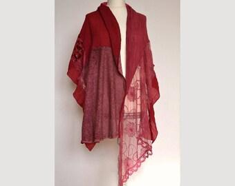 Women's elegant shawl wrap, lace scraf, artsy unique shawl, patchwork shawl,  burgundy shawl, gypsy shawl, boho scraf, upcycled clothing