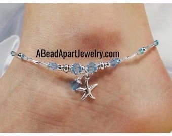 Anklet Ankle Bracelet, Starfish Anklet, Aqua Blue Anklet Beach Anklet Beach Jewelry Dangle Anklet Crystal Anklet Beaded Anklet Ankle Jewelry
