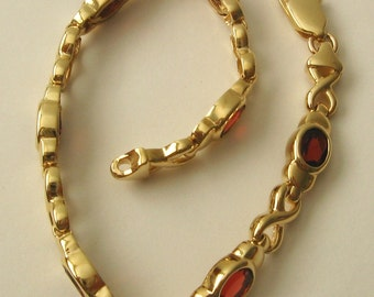 Genuine SOLID 9K 9ct YELLOW GOLD Eternity Infinity Natural Garnet Bracelet with Parrot Clasp 19 cm