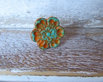 2 Floral Knobs Vintage Style Pictured in Orange and Aqua Blue Farmhouse Whimsical Cottage Set of Knobs Custom Colors Available B-10