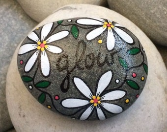 Happy Rock - GLOW - Hand-Painted Beach River Rock Stone - white daisies flowers