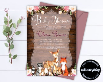 Rustic Baby Shower Invitation Template Girl Baby Shower Invite Woodland Animal Baby Shower Template Rustic Baby Girl Shower invitation