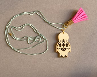Little Paper Warrior Necklace (Green)