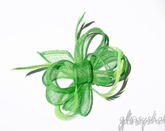 Lime Looped Feather Fascinator Hair Clip