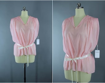 Vintage 1920s Silk Blouse / 20s Pastel Pink Tunic / Embroidered Accordion Pleated Blouse / Art Deco