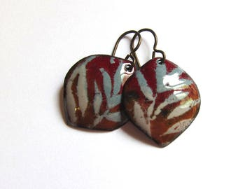 Earthy brown and gray enamel earrings Fall leaf petal dangles Artisan glass enameled jewelry Niobium or sterling silver wire earrings