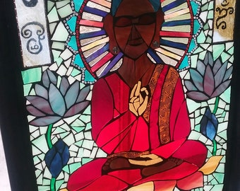 Stained Glass Mosaic: Lotus Meditation