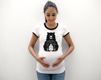 Mama Bear  hand printed maternity shirt 100% cotton