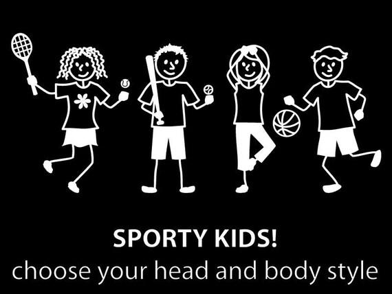 Sporty kids sticker customize your kids stick family car