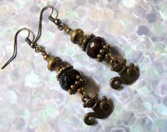 Rustic Brown and Brass Squirrel Earrings (3077)