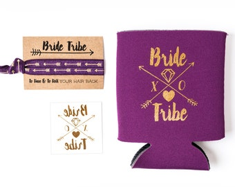 Purple Bride Tribe Bachelorette Gift Set | Metallic Gold Tattoo, Hair Tie + Drink Cooler | Eggplant Bachelorette Party Favor