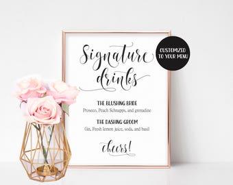 Signature Cocktail Sign, Bar Menu Printable, Reception Signs, Signature Drink Sign, Bachelorette Party Decor, Bridal Shower Sign, Wedding