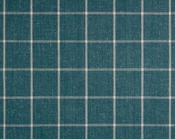 "Two  96"" x 50""  Custom Curtain  Panels - Plaid Check - Baltic Teal Blue"