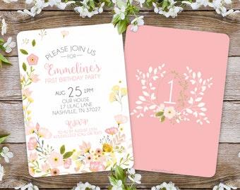 First Birthday Invitation / Girl Floral Invitation / Garden Party / 1st birthday invitation