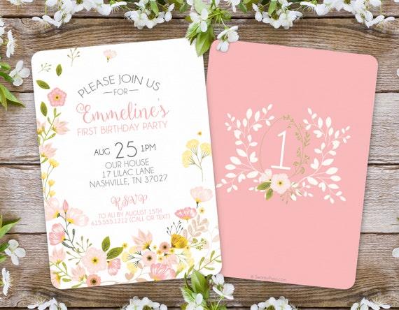 First Birthday Invitation / Girl Floral Invitation / Garden